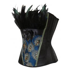 Feather Sequined Embroidered Lace-Up Corset - BLACK S