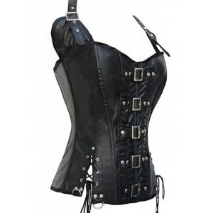 Halter Lace-Up Faux Leather Steampunk Corset - BLACK 2XL