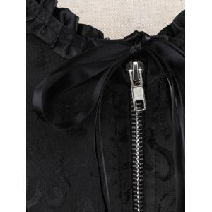 Ruffle Lace-Up Corset Top - BLACK 2XL