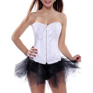 Ruffle Lace-Up Corset Top - White - S