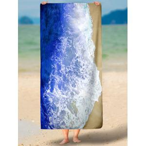 Rectangle Beach Throw with Mar Tides Imprimer - Bleu XL