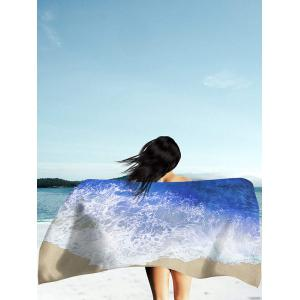 Rectangle Beach Throw with Sea Tides Print