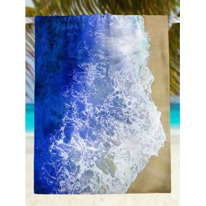 Rectangle Beach Throw with Sea Tides Print - BLUE 2XL
