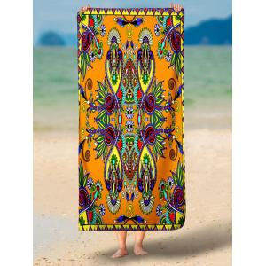 Floral Print Rectangle Beach Throw - BURNT ORANGE L