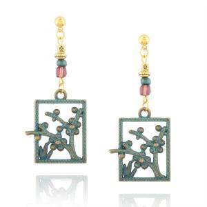 Plant Geometric Beads Hook Earrings - Bronze
