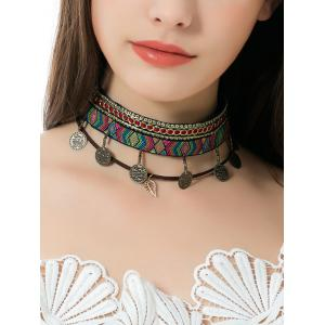 Ethnic Geometric Embroidery Coins Leaf Choker Necklace