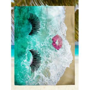 Sea Tide Red Lip Eyelashes Beach Throw -