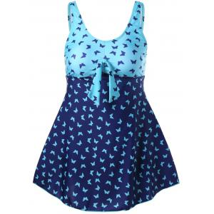 Padded Butterfly Print Tankini Set - Colormix - Xl