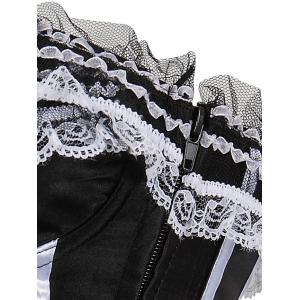 Zippered Laced Lace-Up Corset - WHITE AND BLACK 2XL
