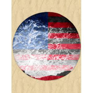 Patriotic Flag Sea Tide Print Milk Silk Fabric Round Beach Throw - Multicolor - 2xl