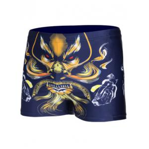 Lion Printed Drawstring Swimming Trunks
