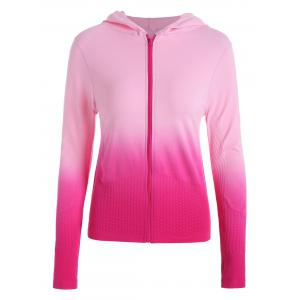 Zip Up Ombre Hooded Running Jacket