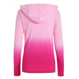 Zip Up Ombre Hooded Running Jacket - ROSE MADDER S