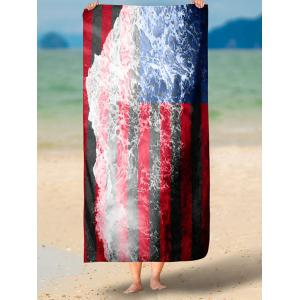 Patriotic Flag and Sea Tide Print Rectangle Beach Throw - MULTICOLOR XL