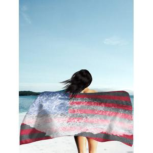 Patriotic Flag and Sea Tide Print Rectangle Beach Throw - Multicolor - 2xl
