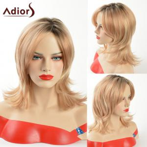 Adiors Dark Root Medium Tail Upwards Side Part Synthetic Wig