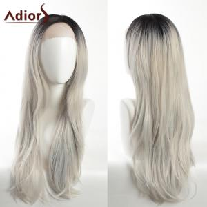 Adiors Dark Root Long Side Part Slightly Curled Lace Front Synthetic Hair - Black And Grey