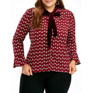 Chiffon  Printed Plus Size  Pussy Bow Bell Sleeve Shirt