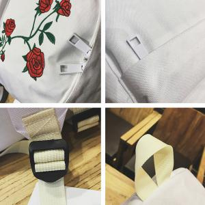 Canvas Rose Embroidered Backpack - WHITE