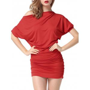 Intimate Batwing Sleeve Ruched Dress - Red - M