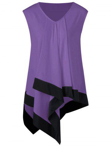 Fancy Plus Size Asymmetrical Longline V Neck T-Shirt PURPLE 5XL