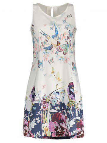 Store Butterfly Floral Print Sleeveless Shift Dress WHITE S