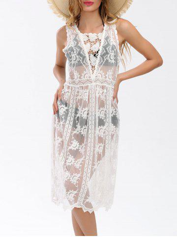 See Thru Sleeveless Lace Cover Up Dress - White - One Size