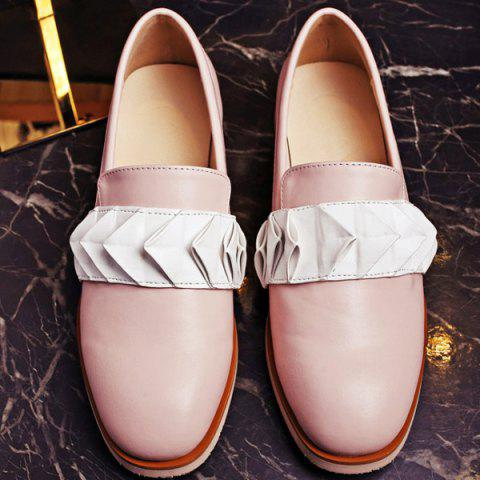 Cheap Ruffles Round Toe Flat Shoes - 39 PINK Mobile