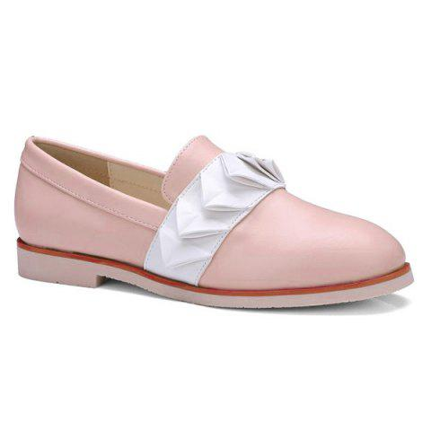 Sale Ruffles Round Toe Flat Shoes - 39 PINK Mobile