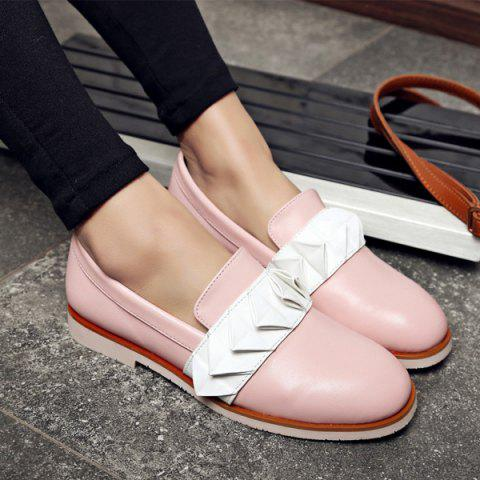 Fancy Ruffles Round Toe Flat Shoes - 39 PINK Mobile
