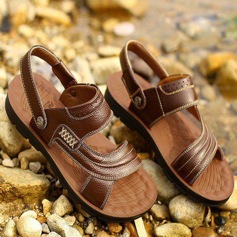 Fancy Stitching Faux Leather Sandals - 40 DEEP BROWN Mobile