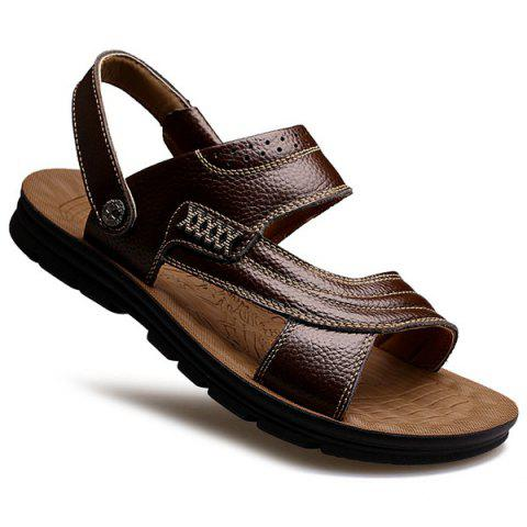 Sale Stitching Faux Leather Sandals - 40 DEEP BROWN Mobile