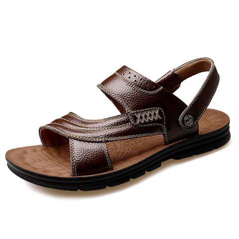 Store Stitching Faux Leather Sandals - 40 DEEP BROWN Mobile