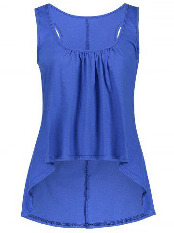 New U Neck Ruched High Low Tank Top