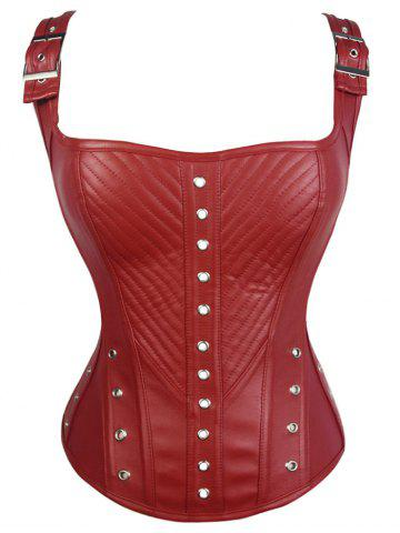 Lace-Up Faux Leather Corset Top - Red - 2xl