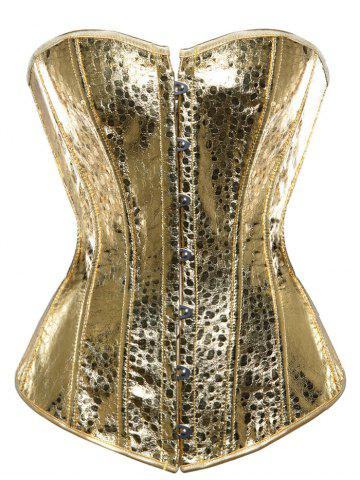 Outfits Steel Boned Metallic Lace Up Corset GOLDEN S