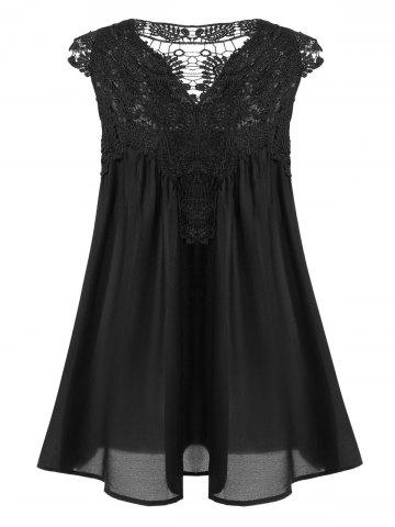Women's Stylish V-Neck Sleeveless Lace Splicing Blouse - Black - Xl
