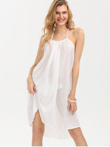 Outfit Crochet Panel Chiffon Sheer Backless Club Dress - S WHITE Mobile