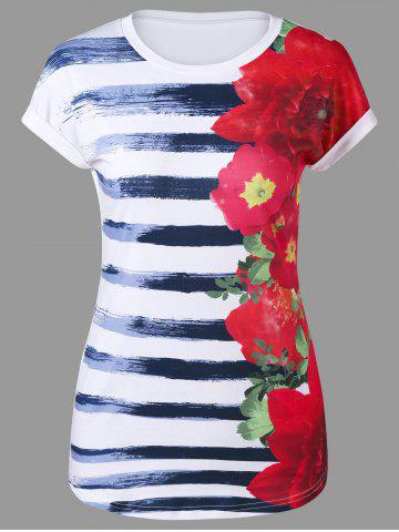 Cheap Floral and Striped Cap Sleeve T-Shirt