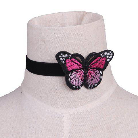 Best Embellished Butterfly Embroidery Velvet Choker Necklace BLACK