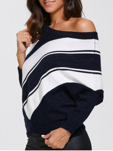 Online Color Block Skew Neck Sweater PURPLISHBLUE + WHITE XL