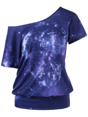 Hot Galaxy Skew Collar T-Shirt