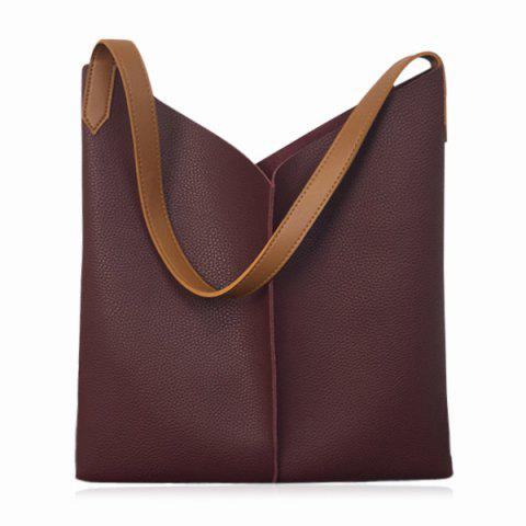 Buy Contrast Strap Faux Leather Shopper Bag WINE RED