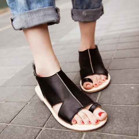 Latest Flat Heel PU Leather Toe Ring Sandals - 39 BLACK Mobile