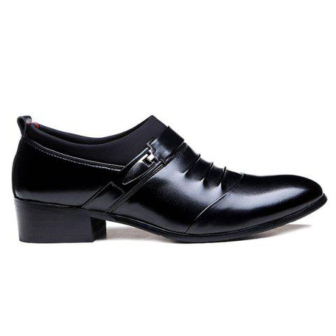Sale Faux Leather Ruched Formal Shoes - 40 BLACK Mobile