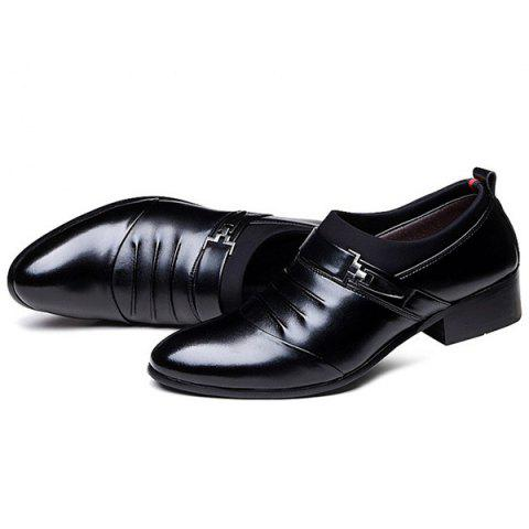Outfits Faux Leather Ruched Formal Shoes - 40 BLACK Mobile