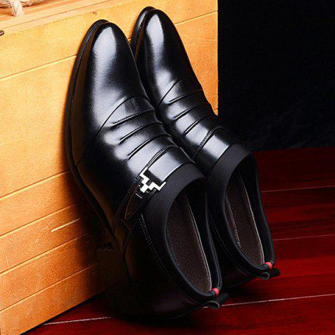 Latest Faux Leather Ruched Formal Shoes - 40 BLACK Mobile