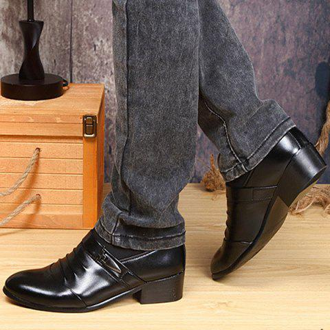 Online Faux Leather Ruched Formal Shoes - 40 BLACK Mobile