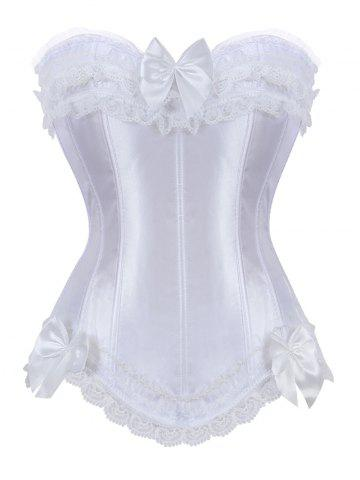 Latest Bowknot Lace Panel Lace-Up Corset