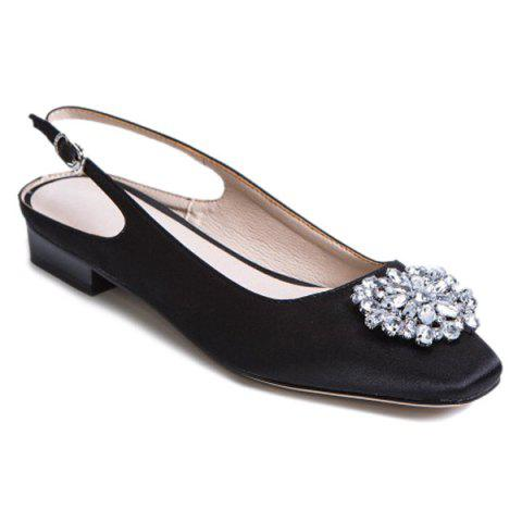 Unique Floral Slingbacks Beading Flat Shoes - 37 BLACK Mobile